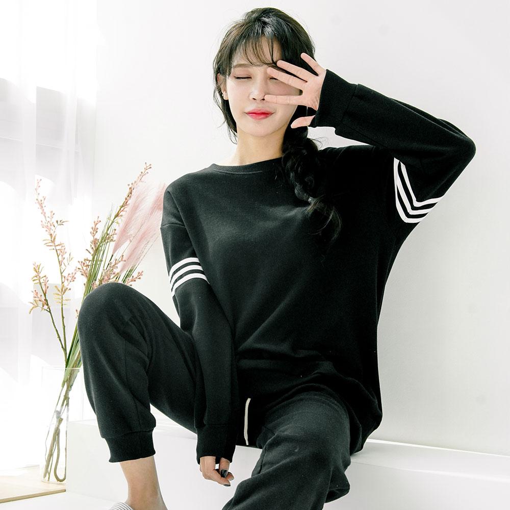 테라우드 여성용 견장라인 긴팔 잠옷 상하세트