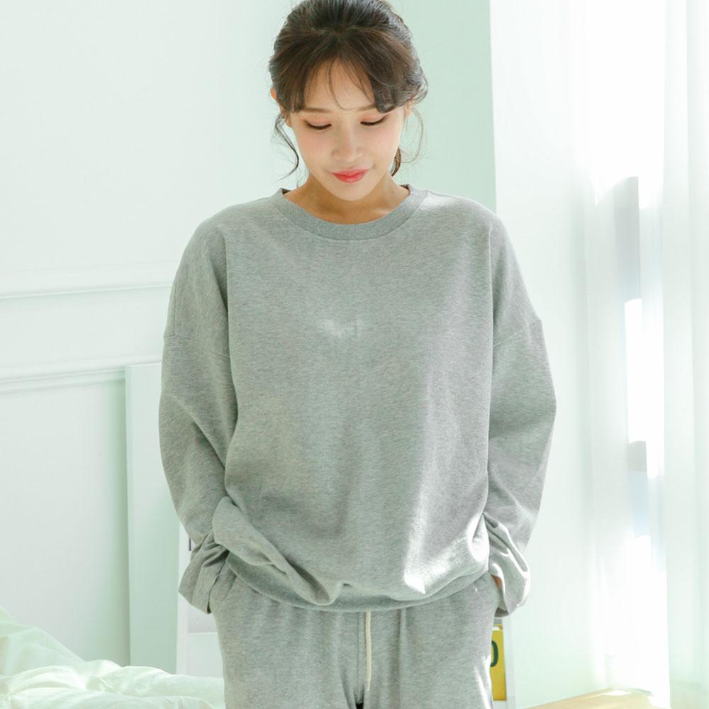 테라우드 여성용 심플베이직 긴팔 잠옷 상하세트