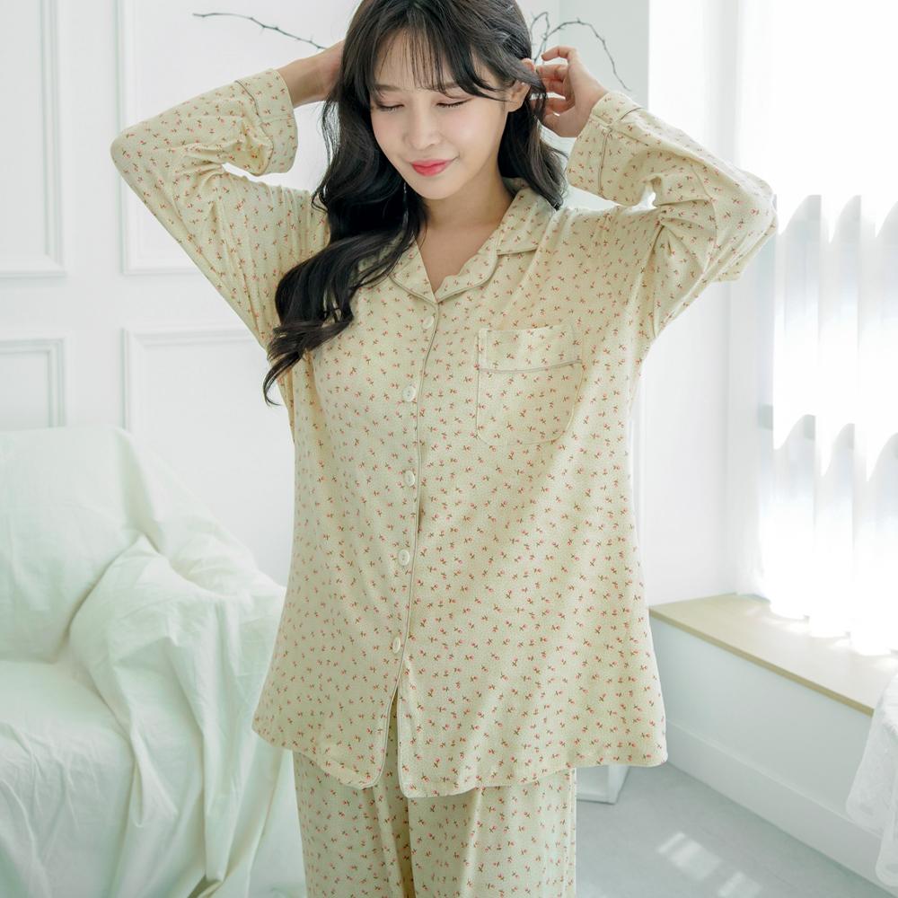 테라우드 여성용 피치기모 긴팔 상하세트 잠옷