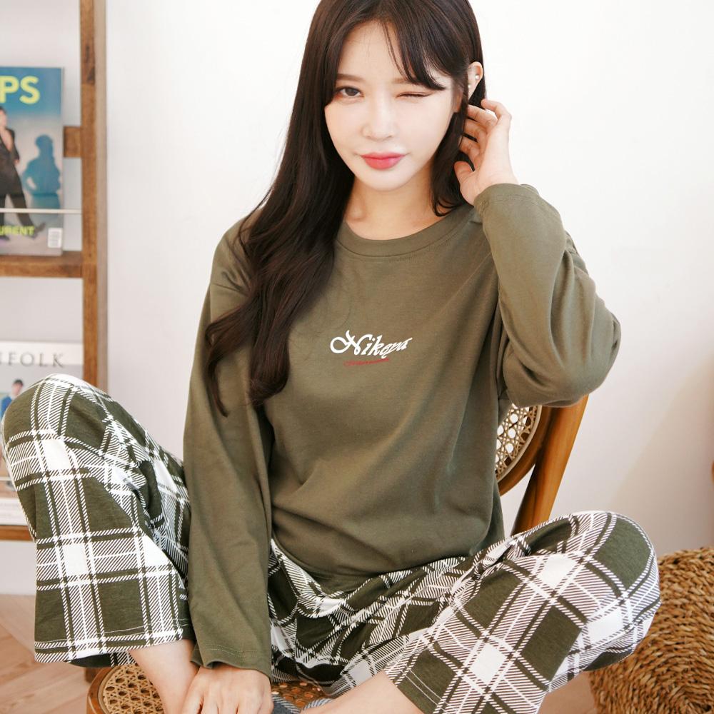 테라우드 커플용 로맨틱카키 긴팔 잠옷 상하세트