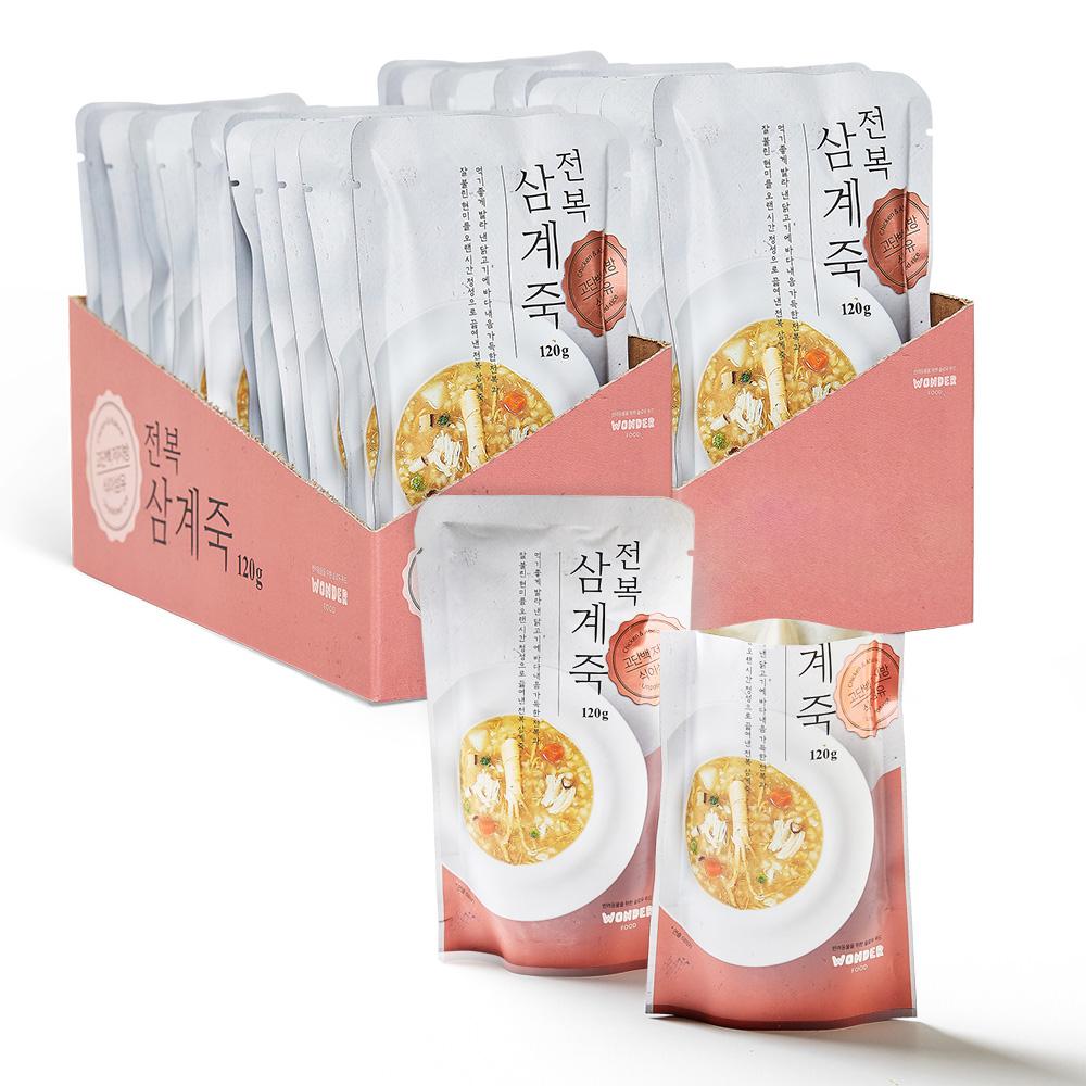 원더푸드 반려동물용 죽 120g, 전복 + 닭 혼합맛, 24개