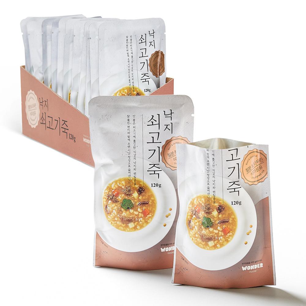 원더푸드 반려동물용 죽 120g, 낙지 + 쇠고기 혼합맛, 12개