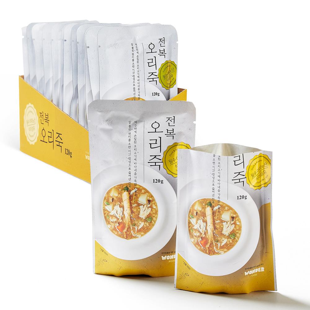 원더푸드 반려동물용 죽 120g, 전복 + 오리 혼합맛, 12개