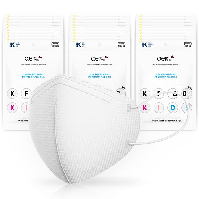 아에르 라이트 보건용 키즈 마스크 소형 KF80, 1개입, 30개