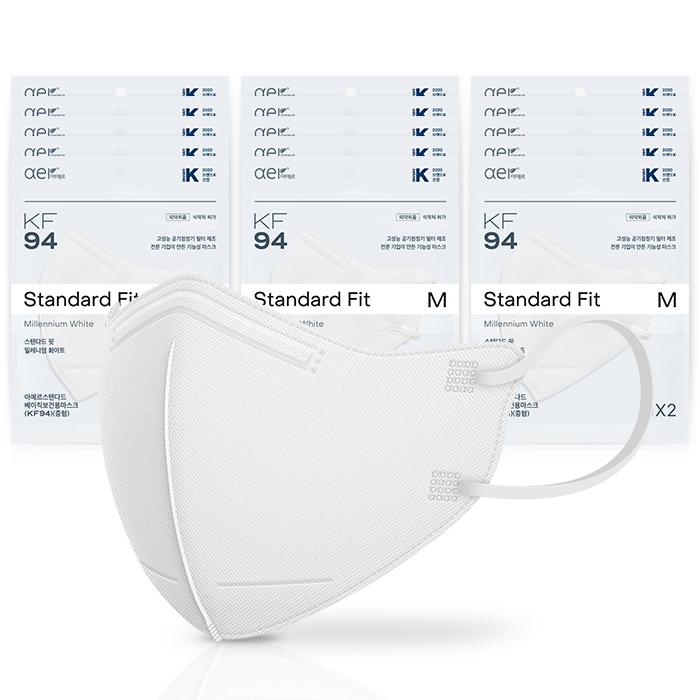 아에르 스탠다드 베이직 보건용 마스크 중형 KF94, 2개입, 15개