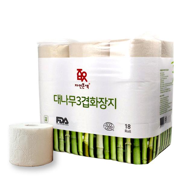 자연본색 천연펄프 친환경 대나무 3겹 롤화장지 35m, 1팩, 18롤
