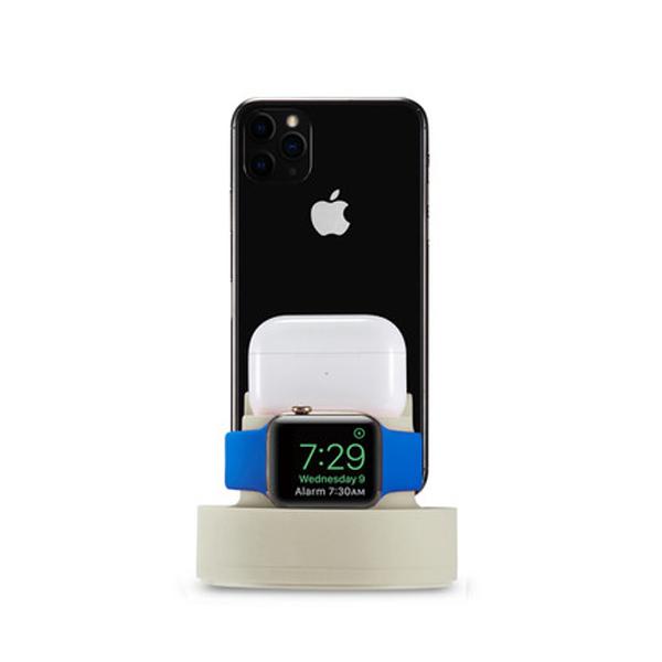 옥샵 3IN1 아이폰 애플워치 에어팟 충전거치대, 1개, 베이지