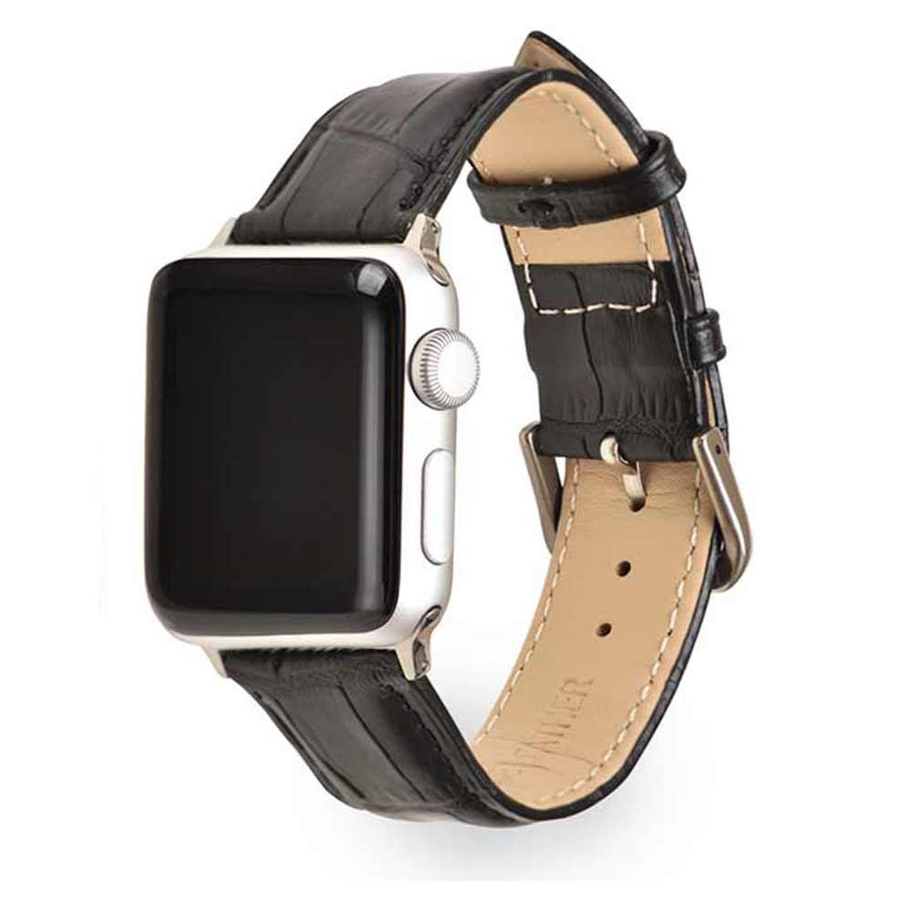 애플 워치 5 4 3 2 가죽 스포츠 메탈 밀레니즈루프 밴드 스트랩 38 40mm 호환 가능, 블랙, 1개