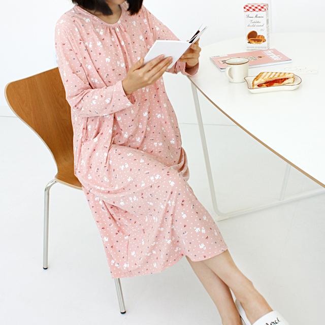 코지데이 여성용 기모 포켓 롱원피스 잠옷