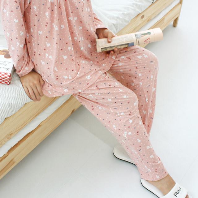 코지데이 여성용 기모 잠옷 상하의 세트