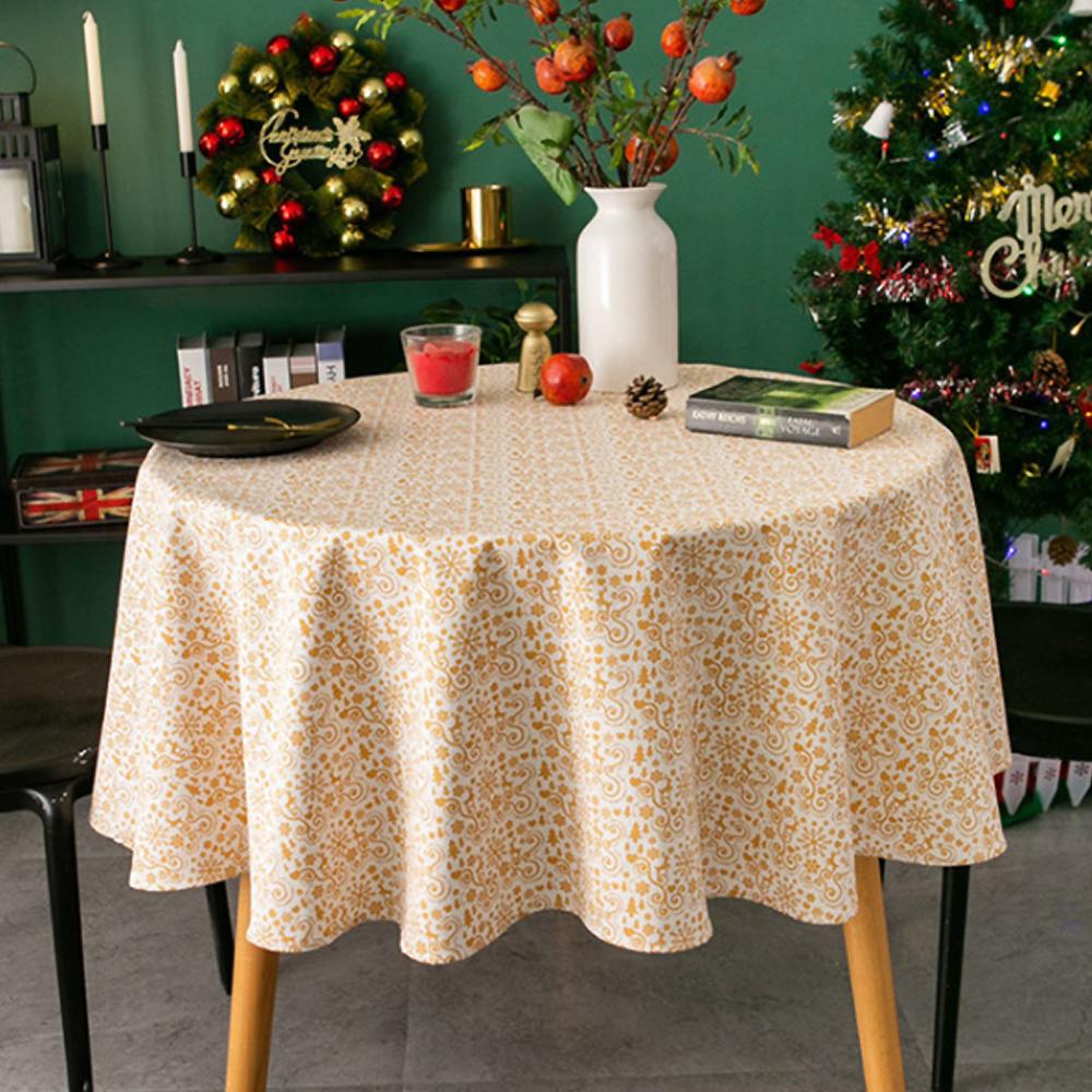 알럽홈 크리스마스 스탬핑 원형 식탁보, 옐로우, 120cm