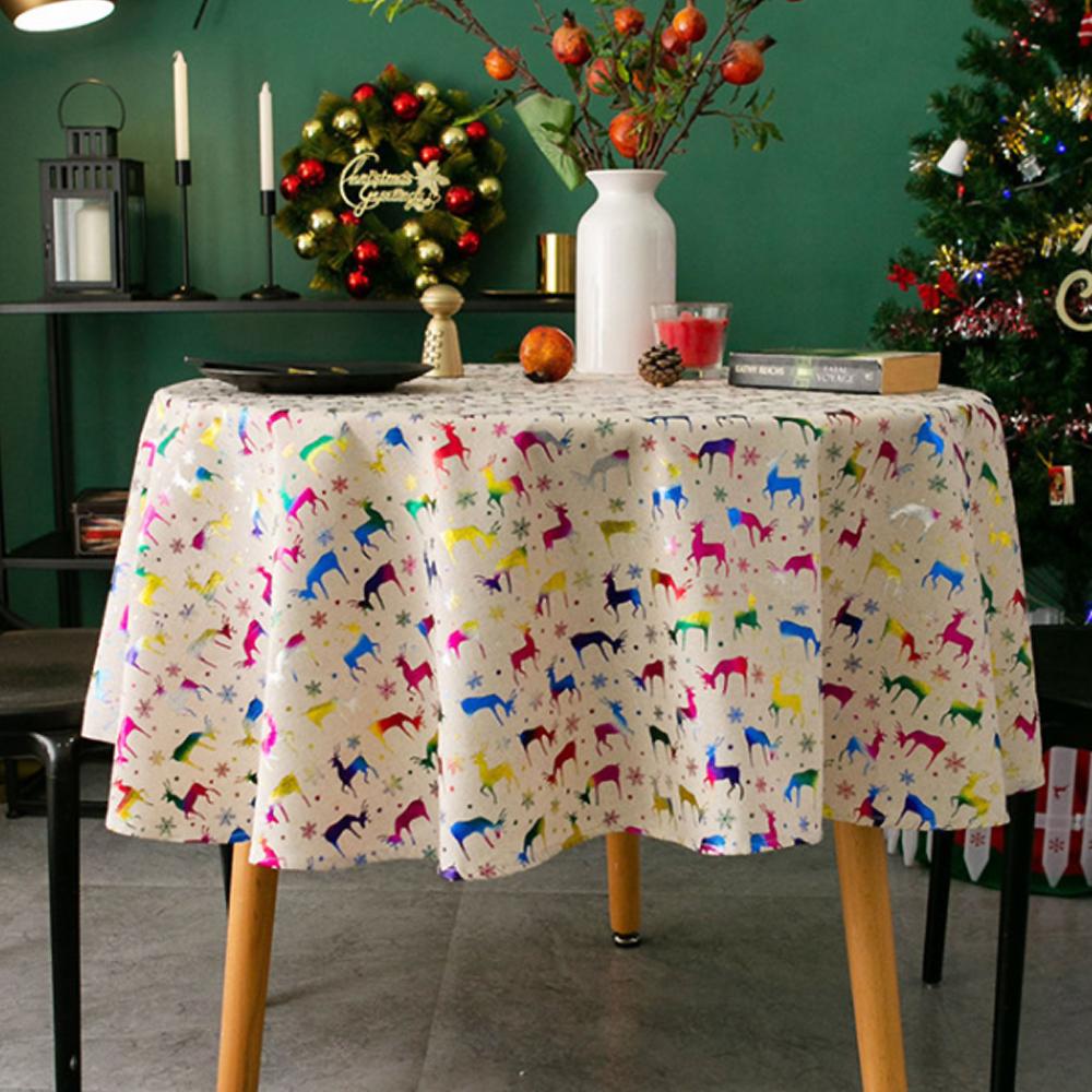 알럽홈 크리스마스 스탬핑 원형 식탁보, 사슴, 150cm