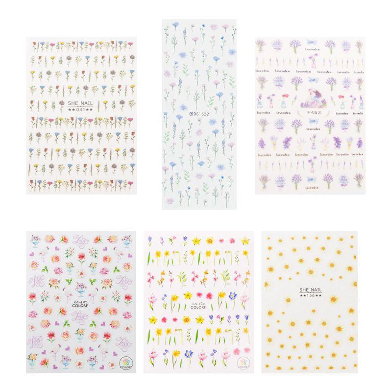 네일은재료빨 여리여리 꽃 네일 스티커 6종 세트, 혼합색상, 1세트