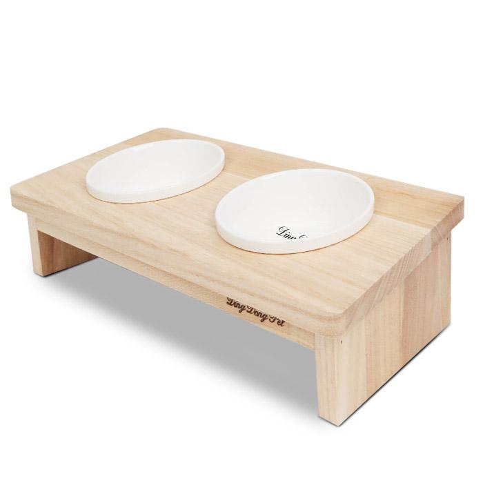 딩동펫 반려동물 클래식 도자기 원목 식탁 2구, 혼합색상, 1개