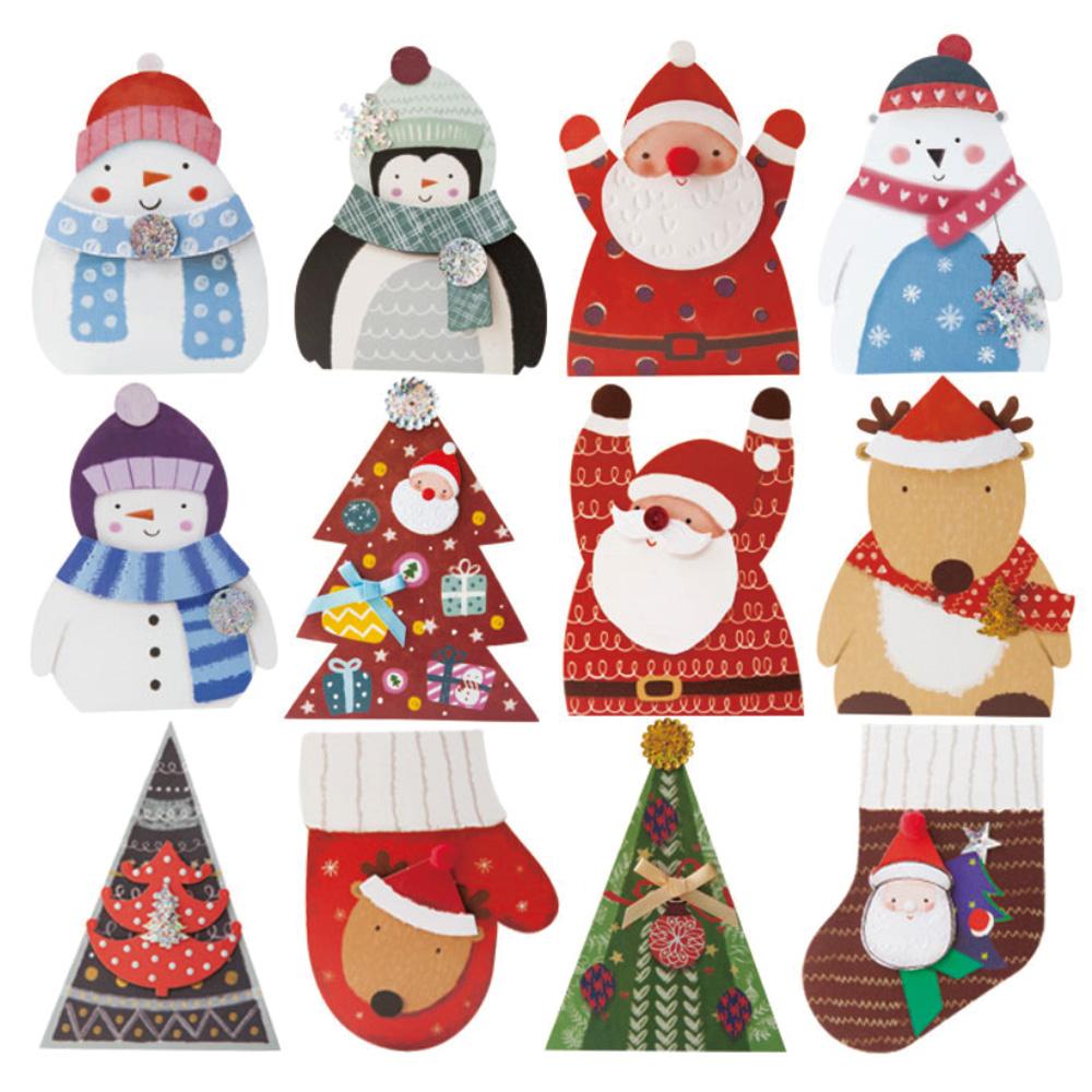 프롬앤투 크리스마스 카드 12종 세트 S512, 혼합색상, 2세트