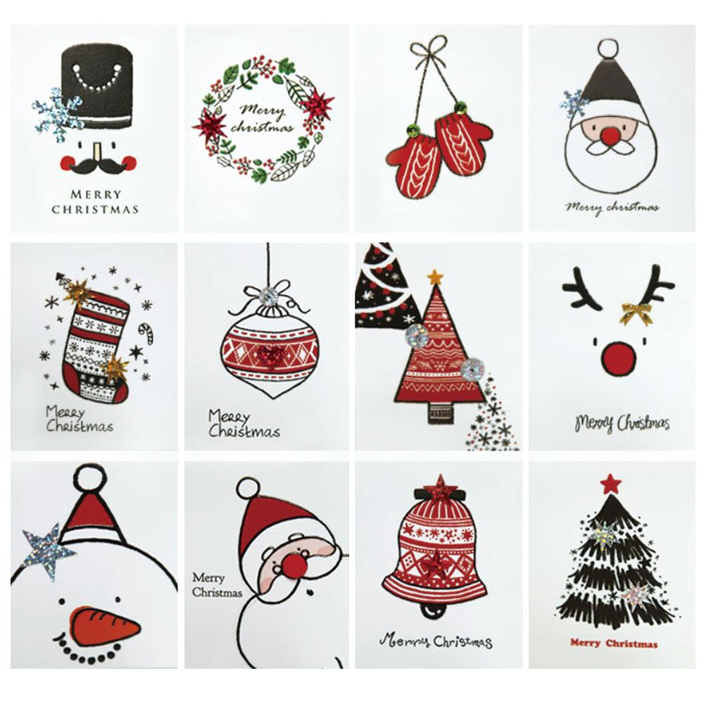 프롬앤투 크리스마스 카드 12종 세트 S511, 혼합색상, 2세트