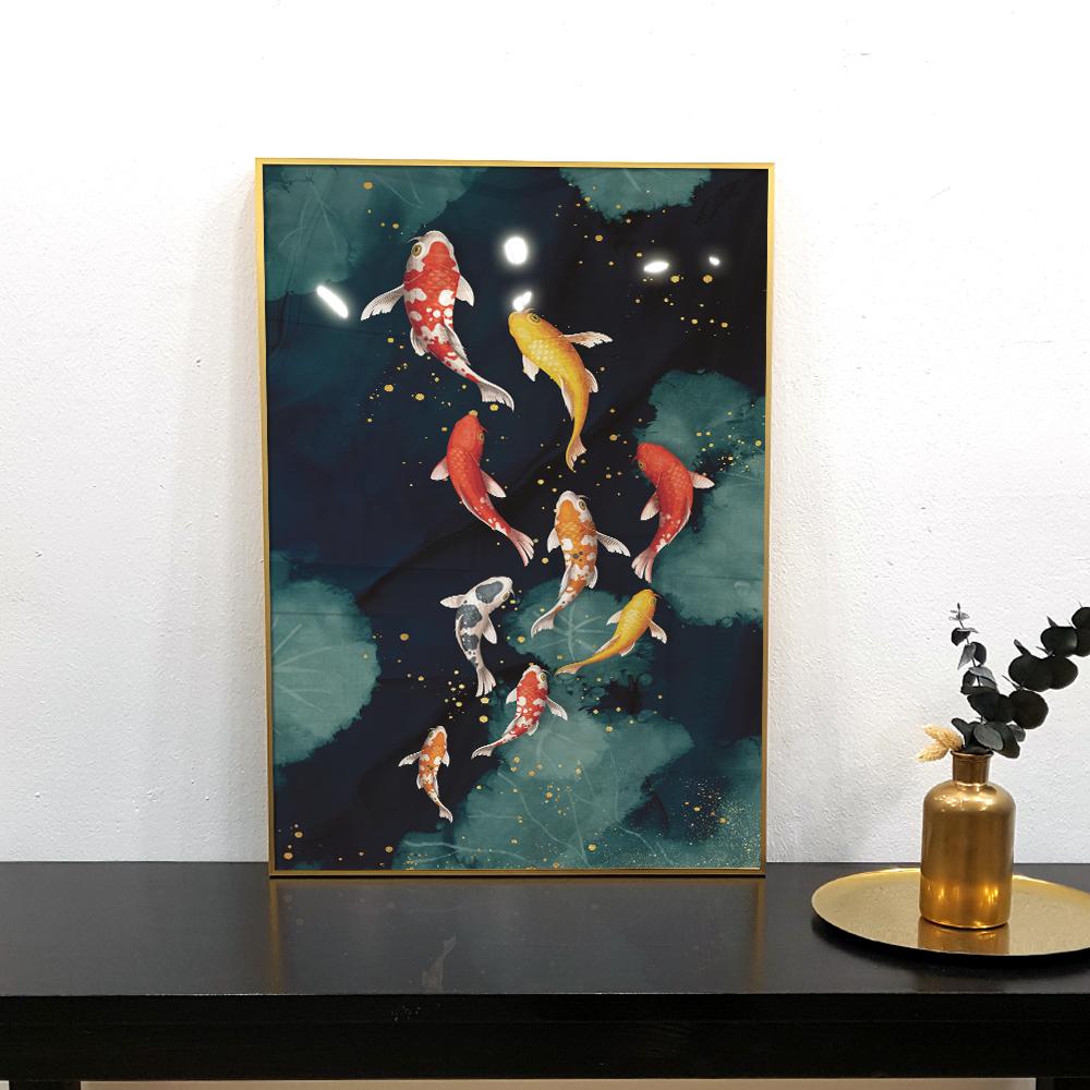 이나코리아 풍수인테리어 돈 들어오는 잉어 물고기 그림 인테리어 액자, 골드 메탈
