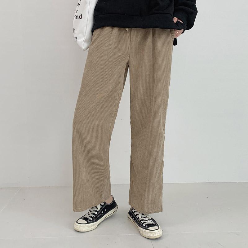 오키 여성용 포근 골덴와이드 밴딩팬츠