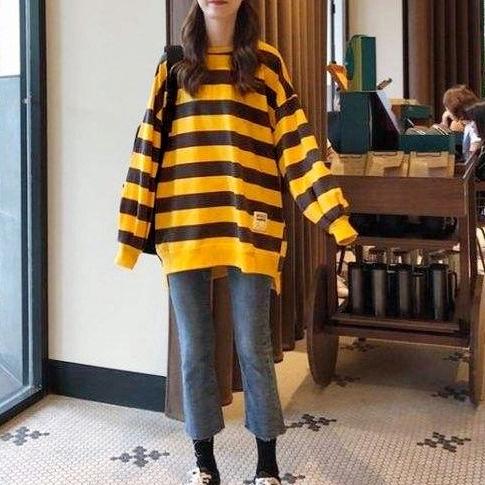 공블리 여성용 오버 스트라이프 긴팔 티셔츠 CST1281