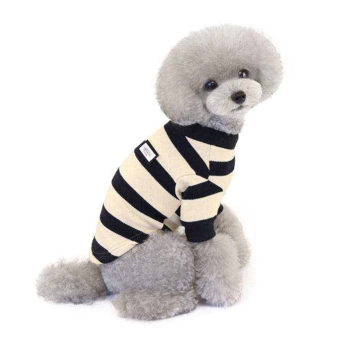 딩동펫 반려동물 스트라이프 티셔츠, 블랙 + 아이보리