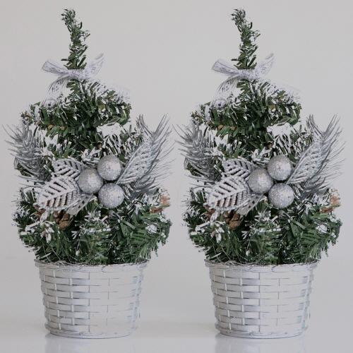 제이하니 미니 크리스마스트리 2p, 리본실버