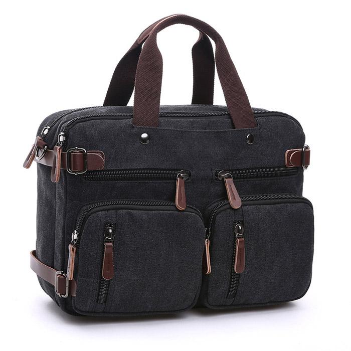 캔버스 대용량 노트북 서류 가방, 블랙