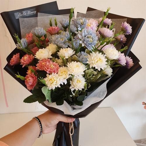 조화 고급 성묘 산소 장식 인테리어 소국꽃다발, 혼합색상 (POP 2249847211)