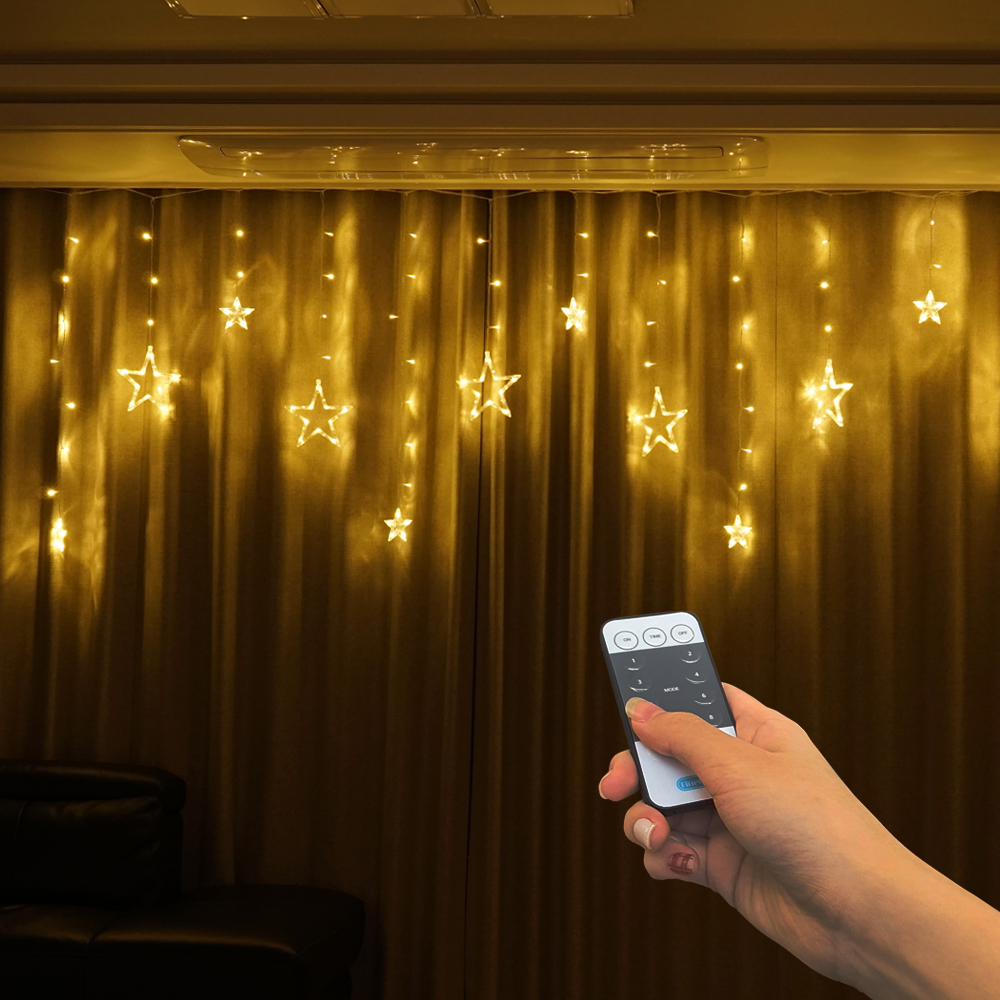 파인블루 LED 스타 행인 가렌더 리모컨 줄조명, 웜 화이트