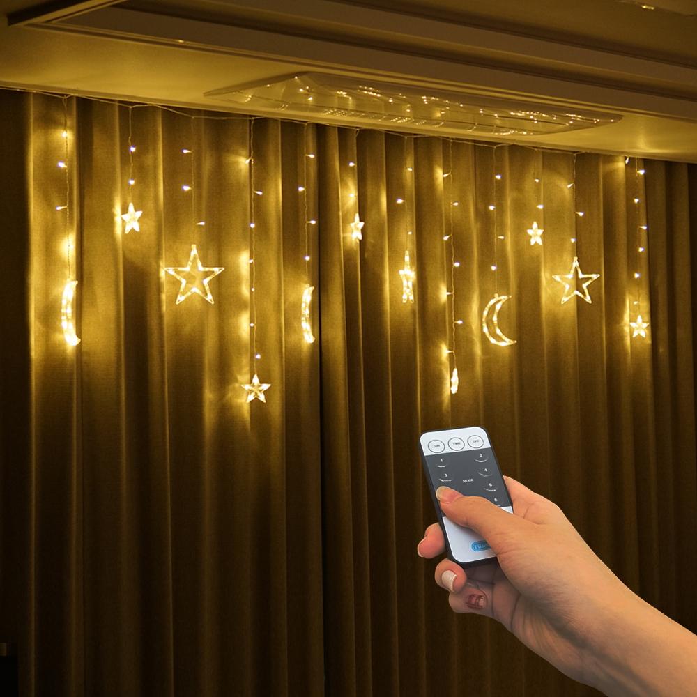 파인블루 LED 별달 행인 가렌더 리모컨 줄조명, 웜 화이트