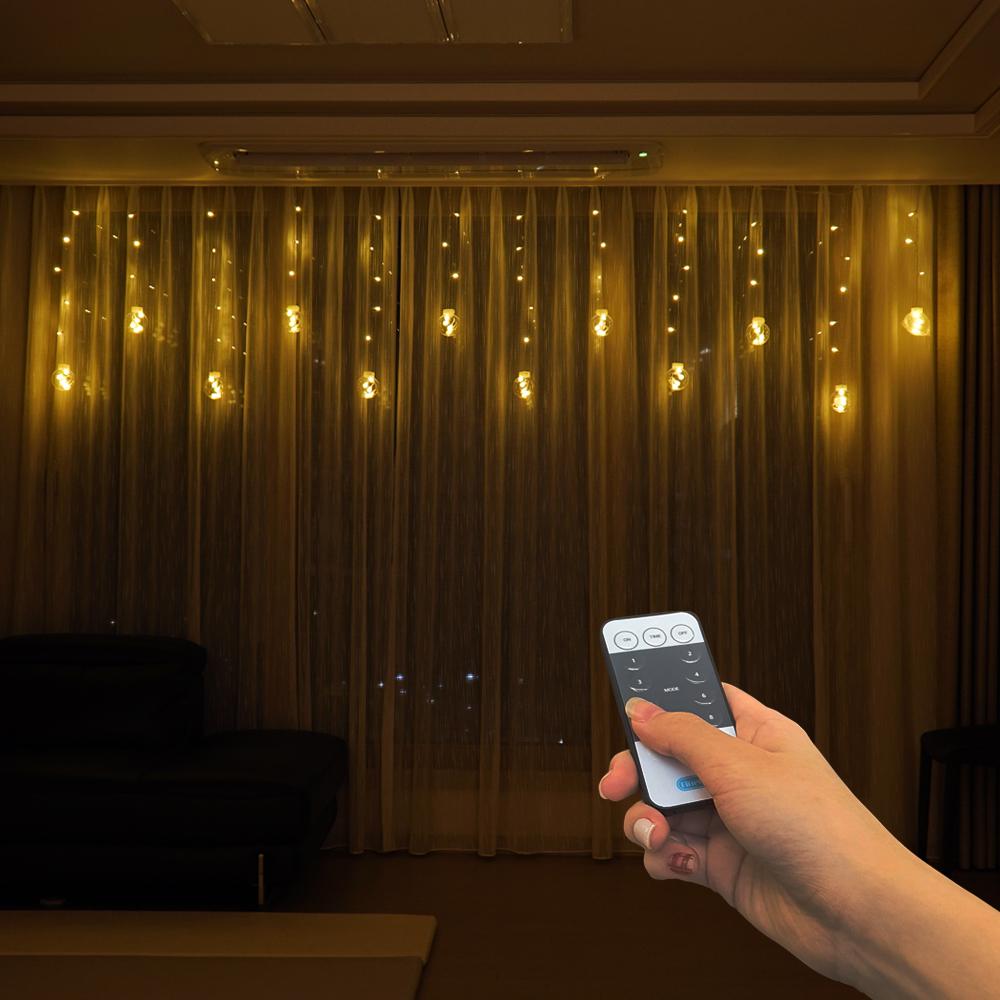 파인블루 LED 모던서클 가렌더 리모컨 줄조명, 웜 화이트