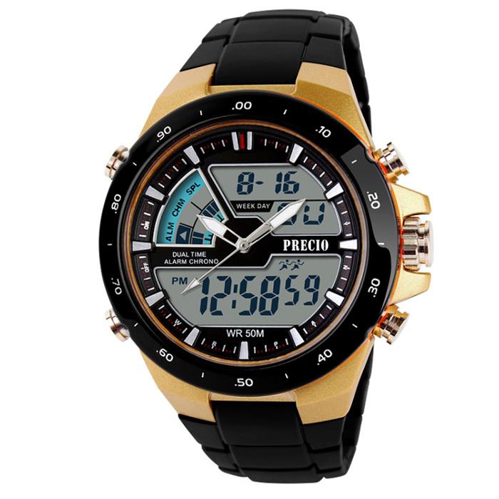 프레시오 군용 방수 알람 스포츠 전자 손목시계 N16, 골드-16-2268740412