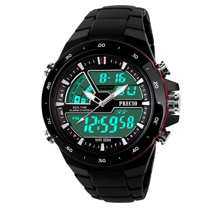 프레시오 군용 방수 알람 스포츠 전자 손목시계 N16, 블랙