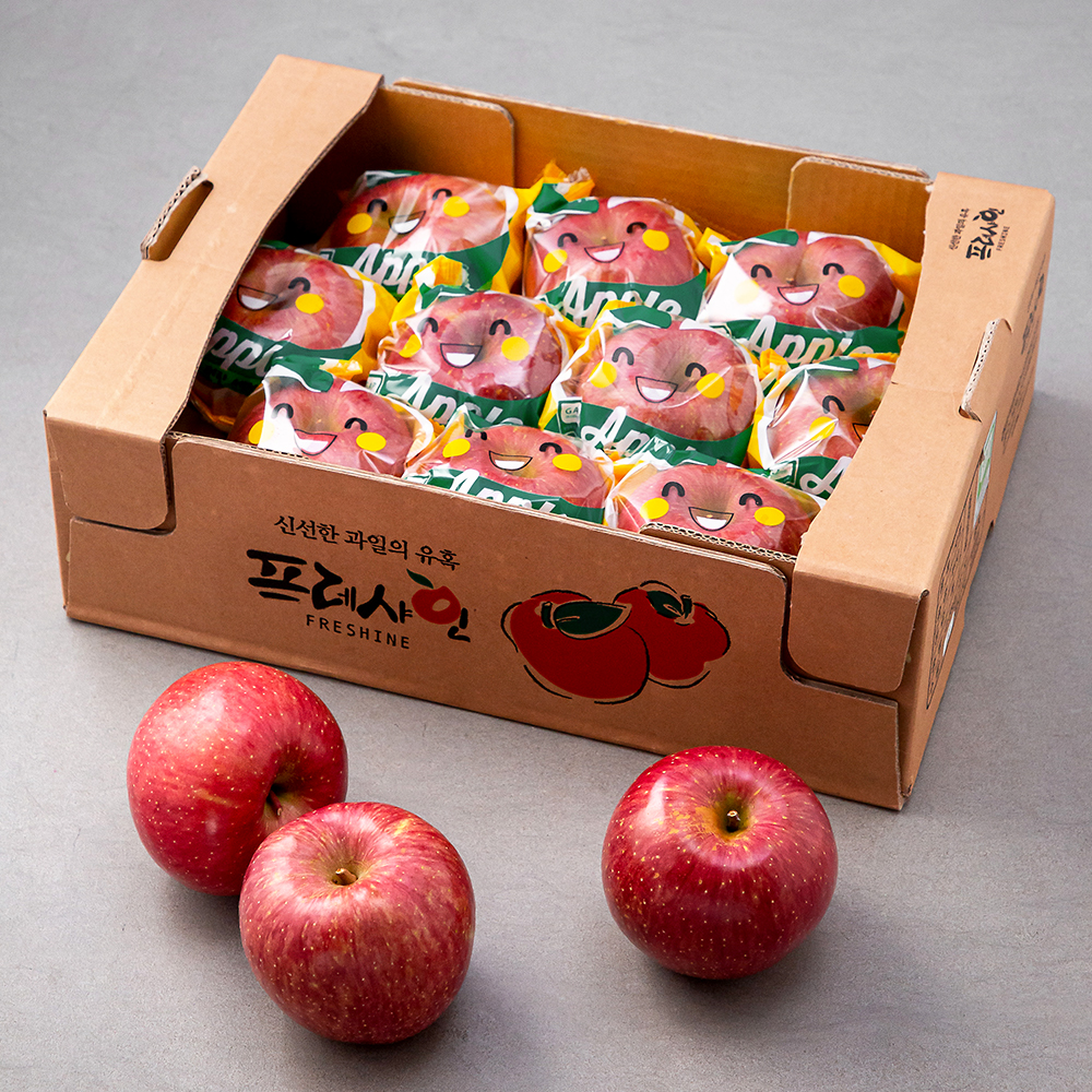 프레샤인 충주 GAP 인증 당도선별 바로먹는 세척 사과, 2.5kg(8~13입), 1박스