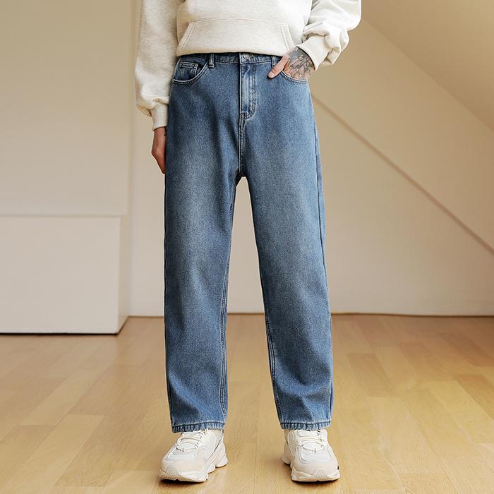 플레이즈 남성용 융기모 허리뒷밴딩 루즈핏 데님팬츠