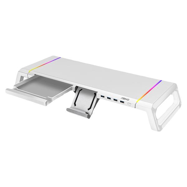 앱코 사이드 폴딩 RGB 데스크 오거나이저 USB 3.0 모니터 받침대 MES100, 화이트, 1개