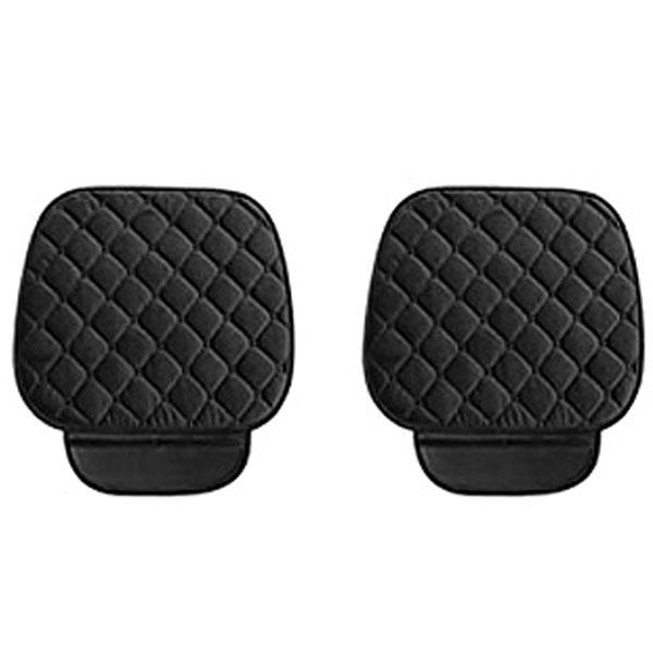 케이엠모터스 극세사 퀼팅 차량용 겨울 앞좌석 1인 방석, 블랙, 2개
