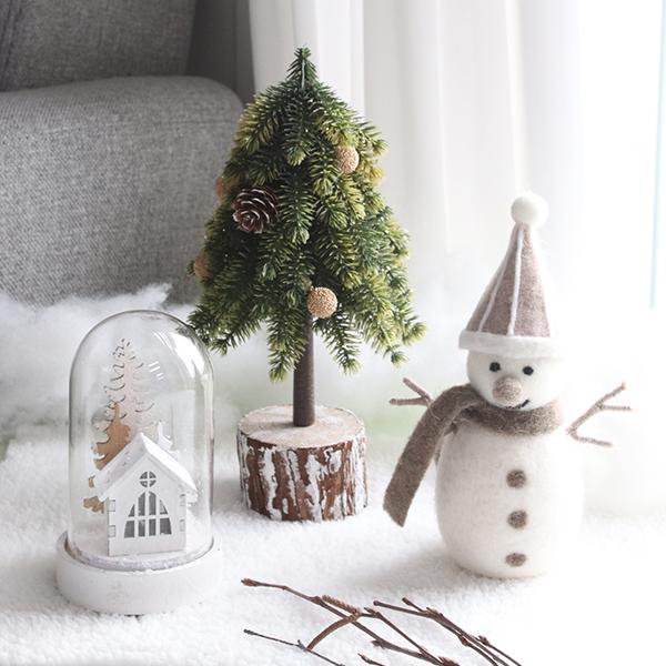 모리앤 미니트리 + 양모 브라운 눈사람 + 겨울왕국 유리돔 무드등 + 미니러그 세트, 혼합색상