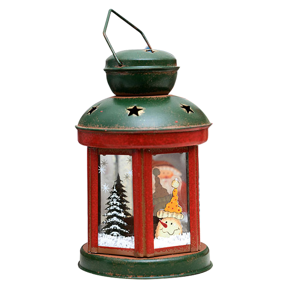 크리스마스 산타와 눈사람 티라이트 캔들 홀더, 원형 눈사람