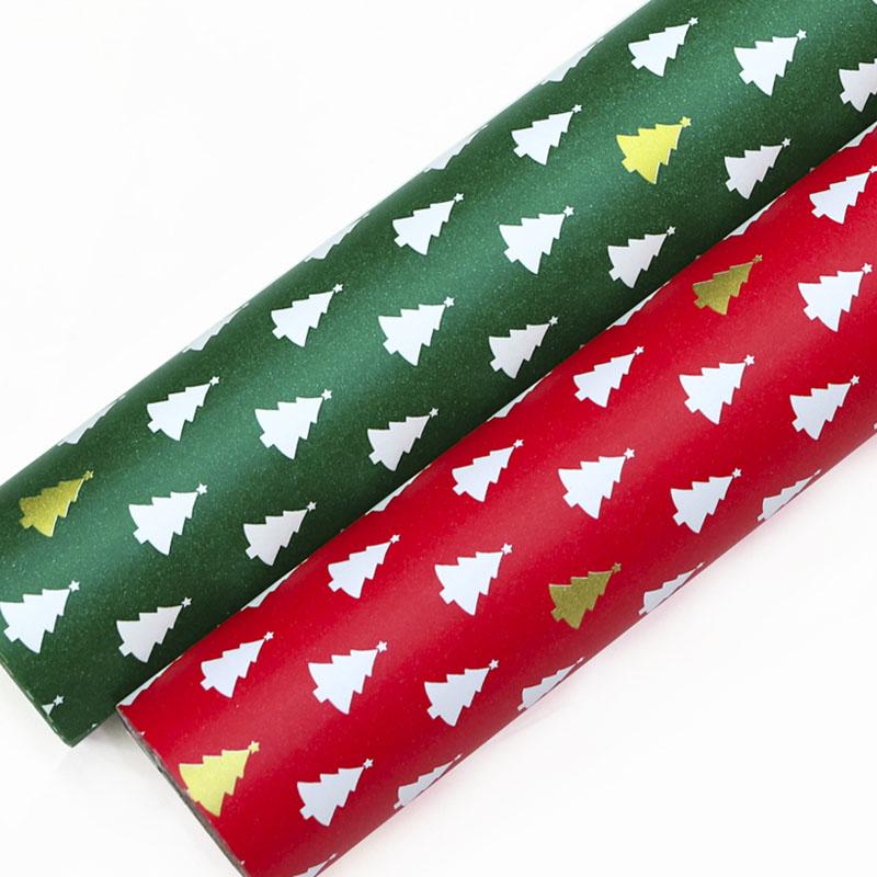제일 트리 크리스마스 종이롤포장지 2종, 적색, 녹색, 1세트