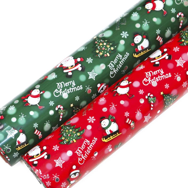 제일 산타 크리스마스 비닐롤포장지 2종, 적색, 녹색, 1세트