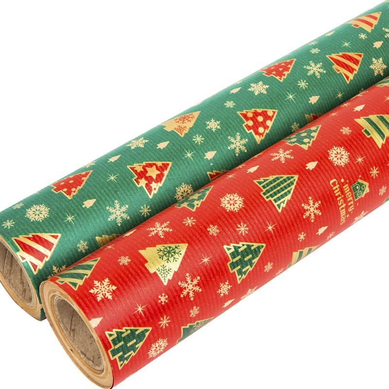 디자인랩 해피트리 크리스마스 종이롤포장지 2종, 적색, 녹색, 1세트