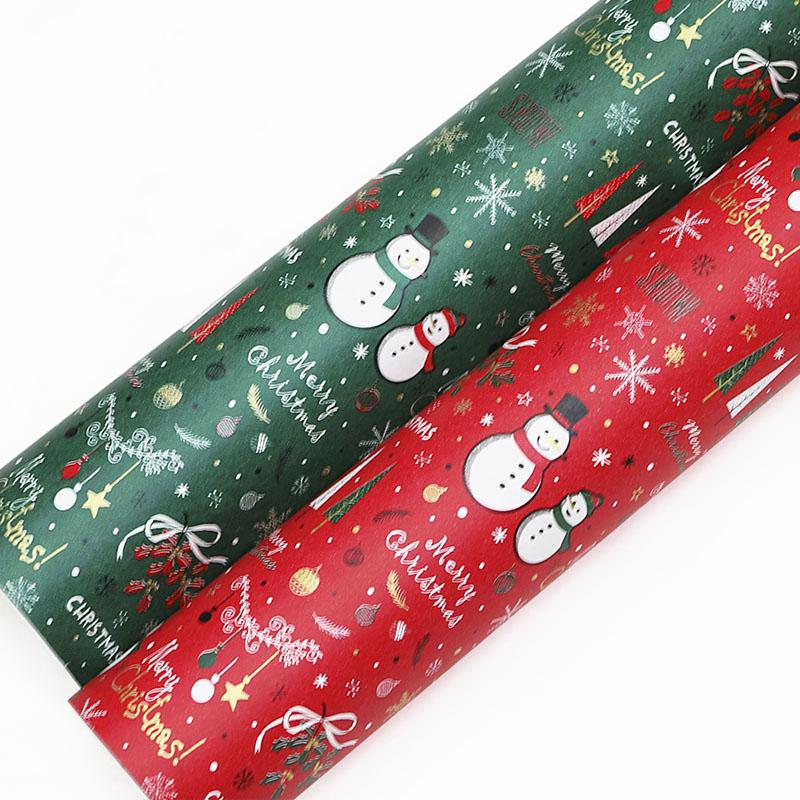 제일 눈사람 크리스마스 종이롤포장지 2종, 적색, 녹색, 1세트