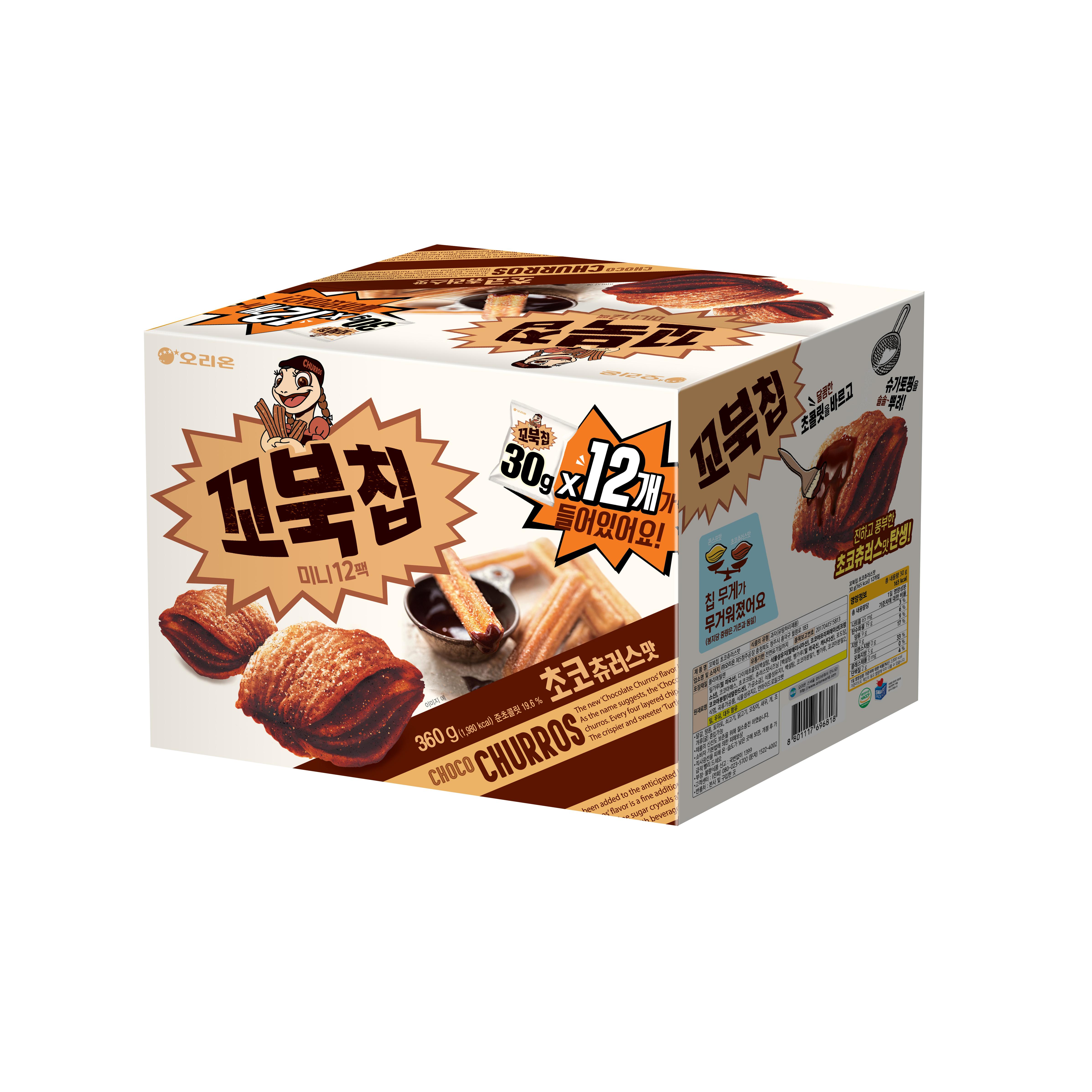 오리온 꼬북칩 초코츄러스 미니 과자, 30g, 12개