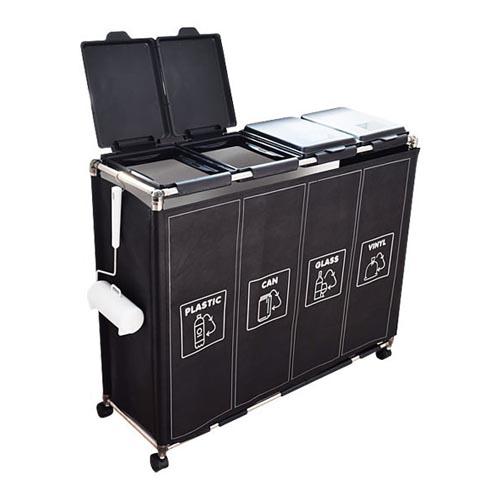 홈스웰 커블리 재활용 분리수거함 4p 세트, 블랙, 1세트