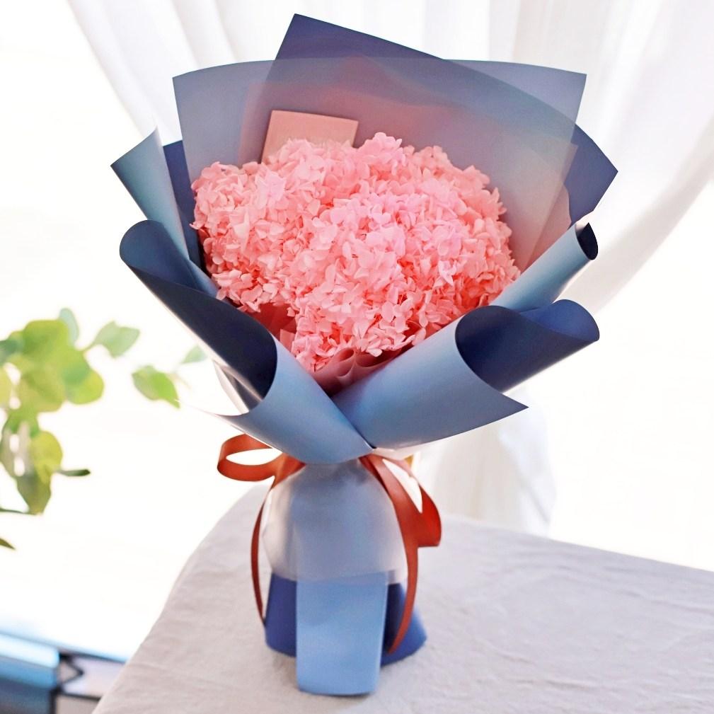 로사리움 수국 꽃다발 포장, 블루