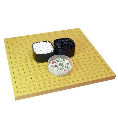 벧엘 기원용 바둑판 42 x 45 x 2.5cm + 정석P 바둑알 + 장기알 세트, 혼합색상