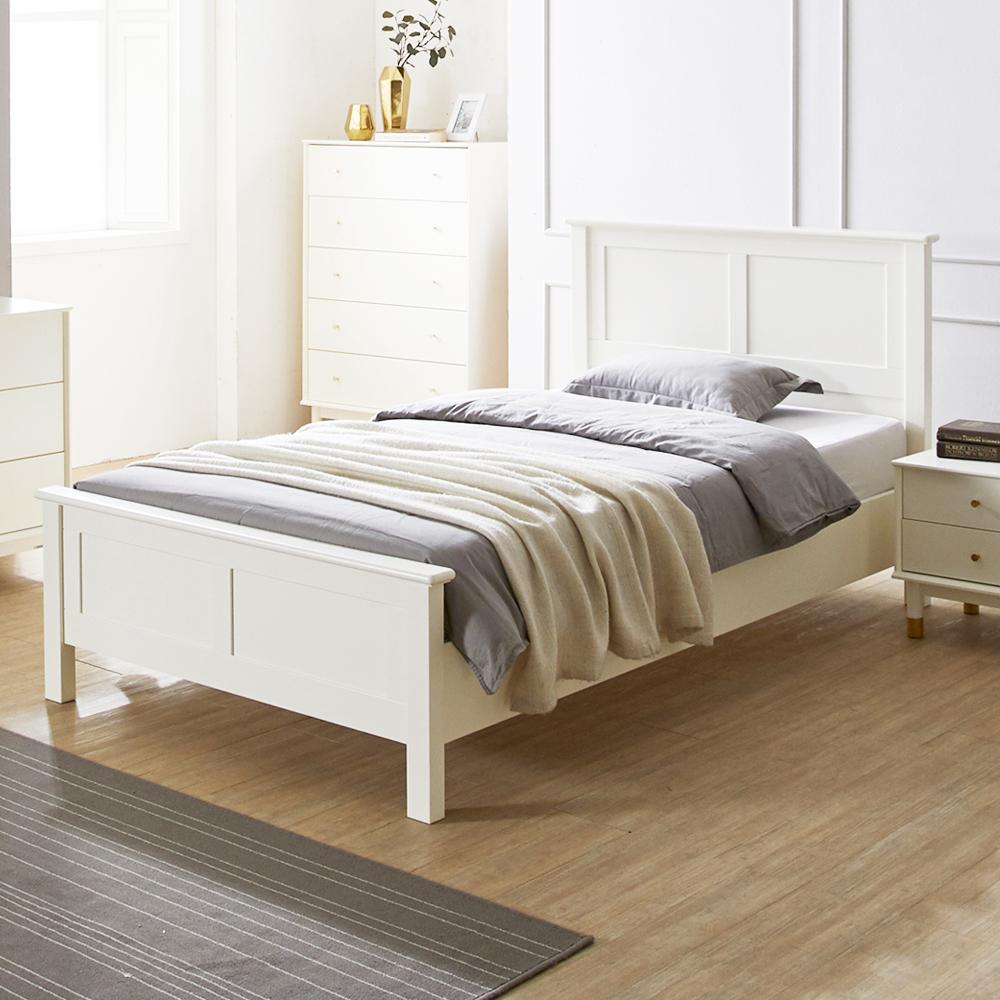 에몬스홈 로코 원목도장 평상형 침대 + 독립형매트리스 방문설치, 크림화이트