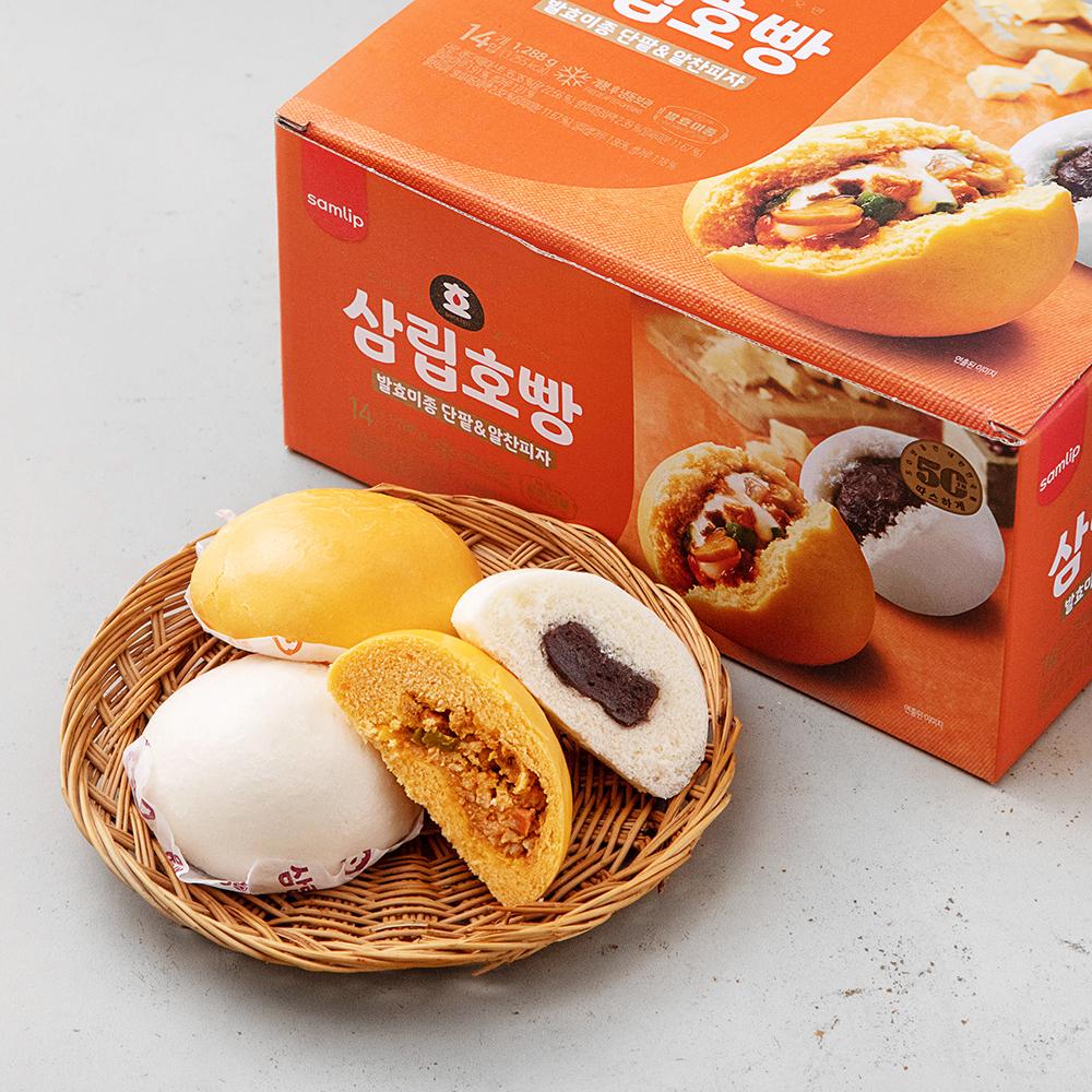 삼립 호빵 발효미종 단팥 7p + 피자 7p, 1288g, 1세트