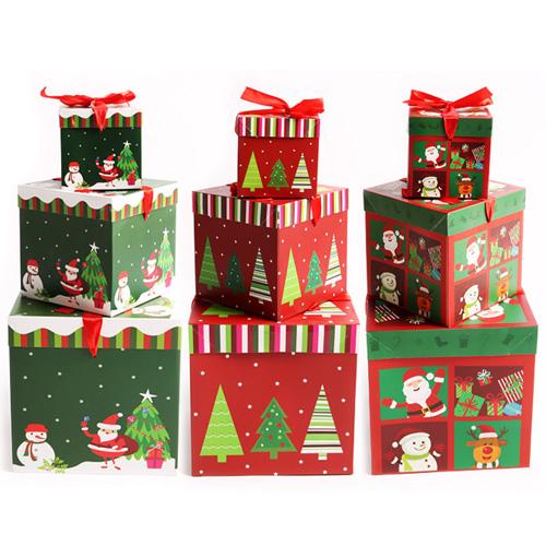파티해 크리스마스 3단 선물상자 3종 세트, 산타와눈사람, 트리, 큐티프렌즈, 1세트