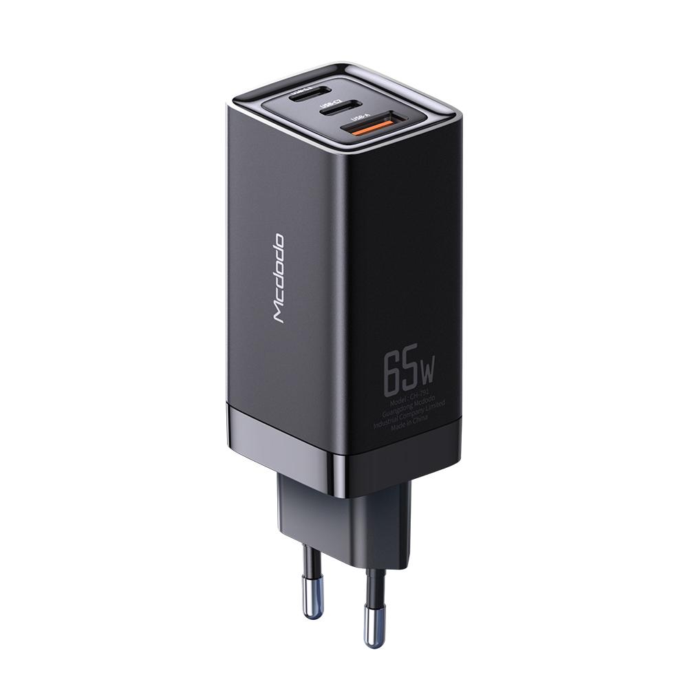 맥도도 GaN PD3.0 PPS 65W 초고속 미니 3포트 멀티충전기, 블랙, 1개